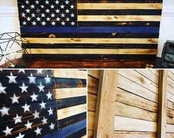 Rustic Wooden American Police Flag - Thin Blue Line