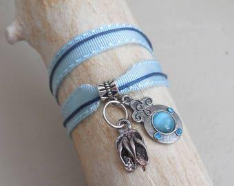 Bracelet 2 laps cotton cord * flip flops and blue enamel charm