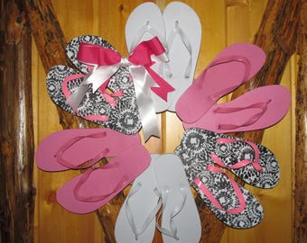 Pink, Black and white flip flop