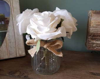 White Roses in Small Glass Jar Display with Hessian Detail Artificial Flowers