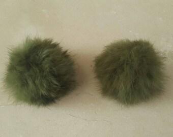 2 PomPoms in real fur khaki 5 cm