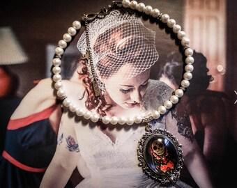 Necklace Boho Chic Pearl ♰Matrioschka♰ silvery cream pearls