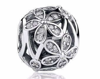 A3 Authentic 925 Sterling Silver Charm FlowersWhite Crystals Fits European & Pandora Charm Bracelet