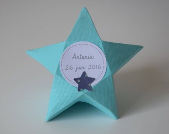 Box dragees turquoise blue star - baptism, communion, babyshower