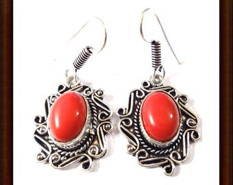Red Jasper earrings and Sterling Silver 925 - 45mm craft
