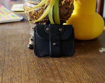 Hand Made  Black Cowhide Super Slim Business Card Holder Button Wallet