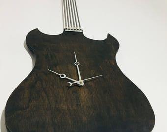 Electric Guitar Art/Industrial Art/Guitar Art/Musician Gifts/Wooden Wall Clock/Modern Clock/Wall Clock Wood/Full Length Guitar Clock