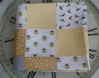Bees and Birds handmade patchwork blanket