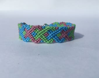 Overlapping Squares Embroidery Floss Woven Braided Friendship Bracelet