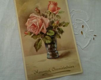 Old postcard / decor bouquet of roses / 1920s