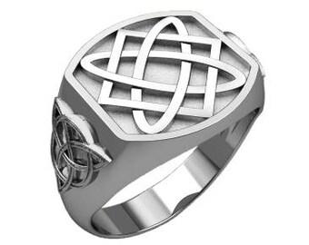 Svarog Square & Triple Knote Symbols Men Ring Sterling Silver 925 SKU30235