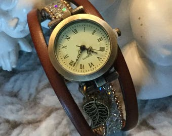Wristwatch woman size UNIQUE bronze color metal