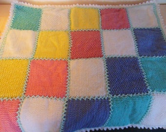 Baby blanket in 5 colors Baby Pastel plaid.