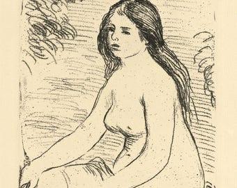 "Pierre-Auguste Renoir ""Femme nue assise"" original etching"