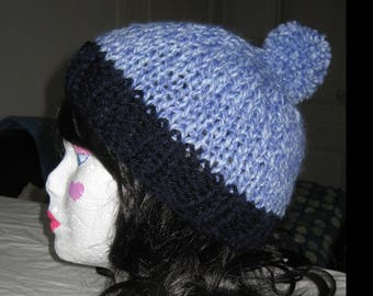 Big hat wool heathered blue, Pompom