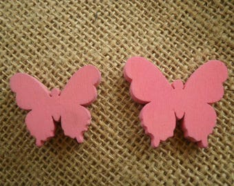 Set of 2 butterflies painted wood, bright pink color, size 3 and 3.5 cm