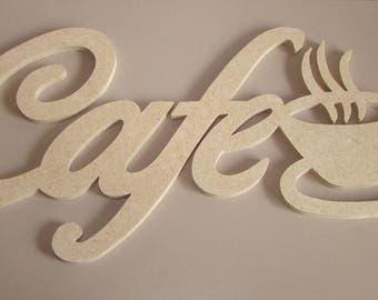 Word coffee cup cut in mdf wood 27.5 x 17 cm