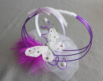 Purple and white pillow with butterfly