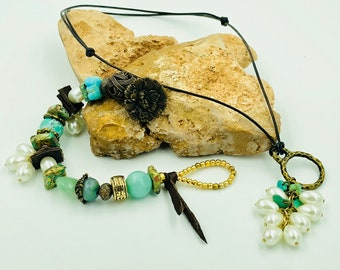 Turquoise and Pearl Talisman Bracelet and Necklace