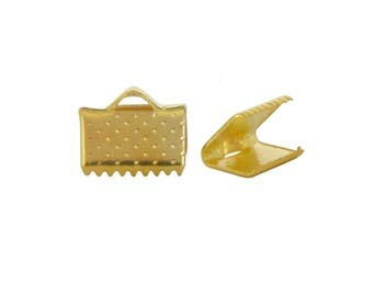 40 caps Ribbon clips has CLAWS gold 10x7mm