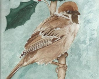 Sparrow on branch of Holly. Brown and green watercolor. Wall decor