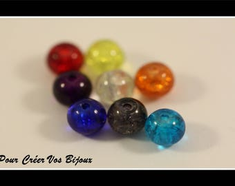 Set of 25 different colors 6mm Crackle round glass beads