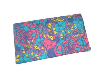 Checkbook fabric floral, pink, turquoise