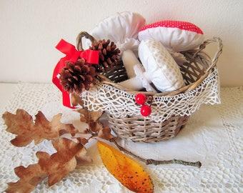 Decorative basket of mushrooms and pine cones