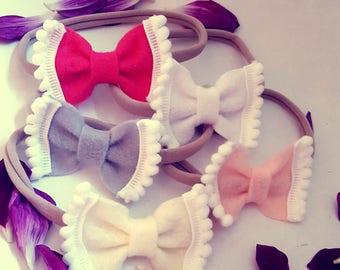 Felt bow headbands|Baby girl headbands|pom-pom felt headbands|girl felt headbands|girls accessories