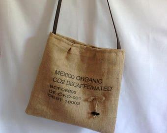 Shoulder bag genuine coffee doubled natural linen bag.