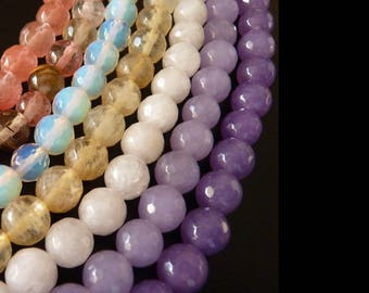 MIX (8mm) x 14 beads gemstone faceted beads (jade, alexandrite, tourmaline, quartz, Amethyst), semi precious stone
