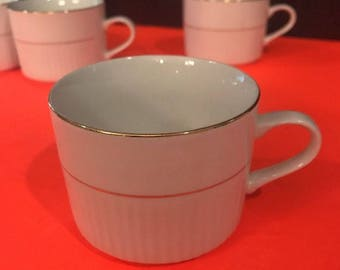 1 Cup - Gibson Everyday - White 2 Gold Ring Trim - Coffee Cup, Espresso,tea