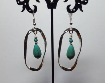 Long turquoise hammered earrings