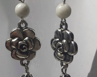 Genuine white jade bead and Flower Earrings