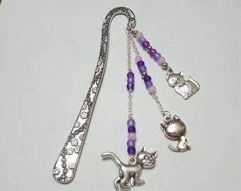 """Bookmark """"Trio of cats"""" violet"""