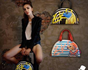 nonhuman illustration handbag  / Day Bag   /  Hand Made / semi-circle