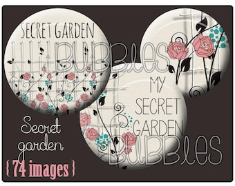 Digital collage sheets - 74 illustrated images for cabochon - Flowers - Blue, pink, gray, beige