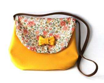 bow mustard and liberty shoulder bag