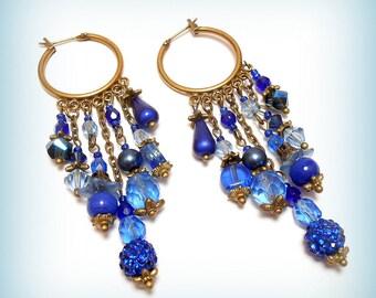"Creole earrings bronze Pearl ""Blue Ocean"""
