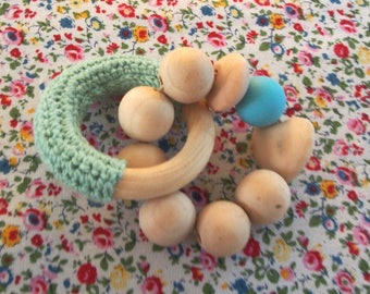 My teething ring mint green crochet captain ★ and turquoise bead ★