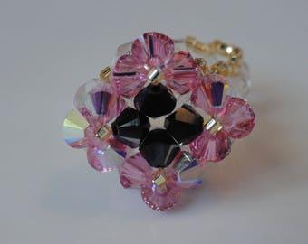 Diamond ring hand made pink and black Swarovski crystals (small size)