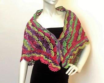 """Shawl crochet multicolor lace """"Petals"""""""