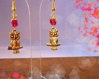 Rose Gold - OWL earrings