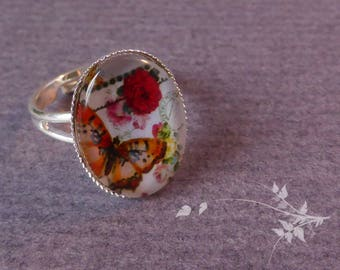 Butterfly and flowers ring
