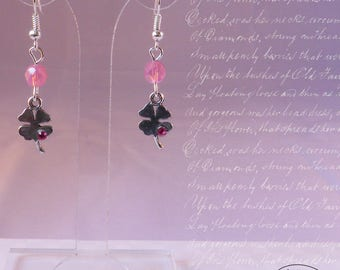 Silver clover and Crystal rhinestones - pink