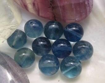 AA Fluorite Bleue Turquoise 10mm en perles rondes