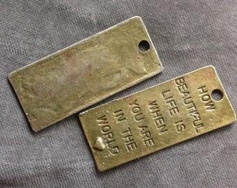 lot de 5 pendentif  métal bronze beautiful life amour vie