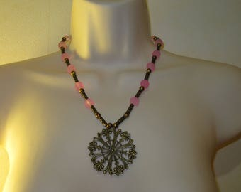 Pink Rose pendant necklace