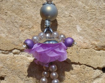 Bag doll purple and grey lobster clasp charm