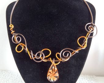 Brown orange aluminum necklace